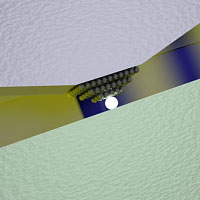 The switch is based on the voltage-induced displacement of one or more silver atoms in the narrow gap between a silver and a platinum plate. (Illustration: Alexandros Emboras / ETH Zurich)