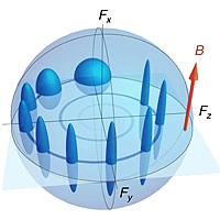 <p>Evolution of a spin and its uncertainty as they orbit due to a magnetic field</p>