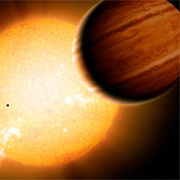 <p>An artist's portrayal of a Warm Jupiter gas-giant planet (r.) in orbit around its parent star, along with smaller companion planets. Image credit: Detlev Van Ravenswaay/Science Photo Library</p>
