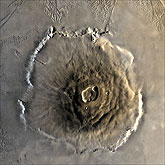 The largest known volcano in the solar system, Olympus Mons.: Image Courtesy NASA NSSDC Photo Gallery
