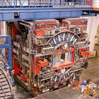 The CDF detector rolling out of the collision hall after discovering the Top Quark. <BR><BR>Image courtesy: Fermilab