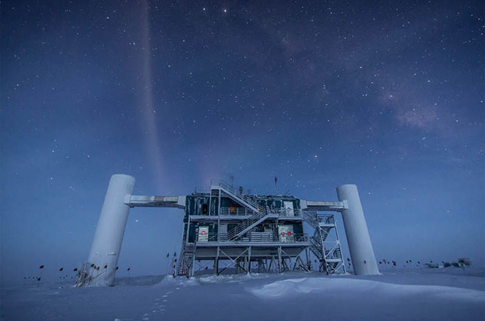 <p>The IceCube Neutrino Observatory in Antarctica.</p>