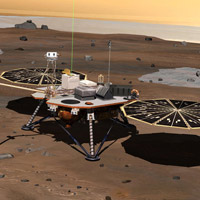 NASA's Phoenix Mars Lander monitors the atmosphere overhead and reaches out to the soil below in this artist's depiction of the spacecraft fully deployed on the surface of Mars.<br /><br />Phoenix has been assembled and tested for launch in August 2007 from Cape Canaveral Air Force Station, Fla., and for landing in May or June 2008 on an arctic plain of far-northern Mars. The mission responds to evidence returned from NASA's Mars Odyssey orbiter in 2002 indicating that most high-latitude areas on Mars have frozen water mixed with soil within arm's reach of the surface.<br /><br />Phoenix will use a robotic arm to dig down to the expected icy layer. It will analyze scooped-up samples of the soil and ice for factors that will help scientists evaluate whether the subsurface environment at the site ever was, or may still be, a favorable habitat for microbial life. The instruments on Phoenix will also gather information to advance understanding about the history of the water in the icy layer. A weather station on the lander will conduct the first study of Martian arctic weather from ground level. The vertical green line in this illustration shows how the weather station on Phoenix will use a laser beam from a lidar instrument to monitor dust and clouds in the atmosphere. The dark 'wings' to either side of the lander's main body are solar panels for providing electric power.<br /><br />The Phoenix mission is led by Principal Investigator Peter H. Smith of the University of Arizona, Tucson, with project management at NASA's Jet Propulsion Laboratory and development partnership with Lockheed Martin Space Systems, Denver. International contributions for Phoenix are provided by the Canadian Space Agency, the University of Neuchatel (Switzerland), the University of Copenhagen (Denmark), the Max Planck Institute (Germany) and the Finnish Meteorological institute. JPL is a division of the California Institute of Technology in Pasadena.<br /><br />Image Credit: NASA/JPL/UA/Lockheed Martin