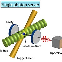 A single atom trapped in a cavity generates a single photon after being triggered by a laser pulse. After the source is characterised, the subsequent photons can be distributed to a user.<br /><br /> 