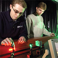 Matthew Bigelow and Nick Lepeshkin, members of the Prof. Boyd's team, pictured here with the experimental setup. Photo courtesy Prof. Robert W. Boyd., University of Rochester.