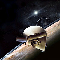 The Johns Hopkins University Applied Physics Laboratory will design, build and operate the New Horizons spacecraft, seen here in an artist's concept. The craft's miniature cameras, radio science experiment, ultraviolet and infrared spectrometers and space plasma experiments will characterize the global geology and geomorphology of Pluto and Charon, map their surface compositions and temperatures, and examine Pluto's atmosphere in detail. The spacecraft's most prominent design feature is an 8-foot (2.5-meter) dish antenna, through which it will communicate with Earth from as far as 4.7 billion miles (7.5 billion kilometers) away.