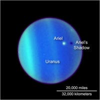 This NASA Hubble Space Telescope image is a never-before-seen astronomical alignment of a moon traversing the face of Uranus, and its accompanying shadow. The white dot near the center of Uranus' blue-green disk is the icy moon Ariel. The 700-mile-diameter satellite is casting a shadow onto the cloud tops of Uranus. To an observer on Uranus, this would appear as a solar eclipse, where the moon briefly blocks out the Sun as its shadow races across Uranus's cloud tops. Though such 'transits' by moons across the disks of their parents are commonplace for some other gas giant planets, such as Jupiter, the satellites of Uranus orbit the planet in such a way that they rarely cast shadows on the planet's surface. Uranus is tilted so that its spin axis lies nearly in its orbital plane. The planet is essentially tipped over on its side. The moons of Uranus orbit the planet above the equator, so their paths align edge-on to the Sun only every 42 years. This color composite image was created from images at three wavelengths in near infrared light obtained with Hubble's Advanced Camera for Surveys on July 26, 2006.<br /><br />Image courtesy: Hubblesite.org
