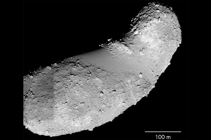 <p>The samples studied by Jin and Bose came from the feature called the Muses Sea, which is the smooth area in the middle of Itokawa.</p>
