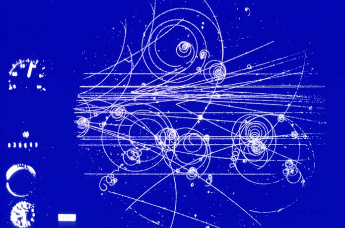 <p>This image from 1960 is of real particle tracks formed in CERNs first liquid hydrogen bubble chamber to be used in experiments.</p>