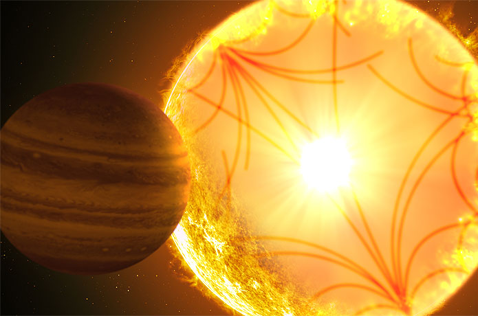 <p>Artist's concept of a Kepler-1658-like system. Sound waves propagating through the stellar interior were used to char