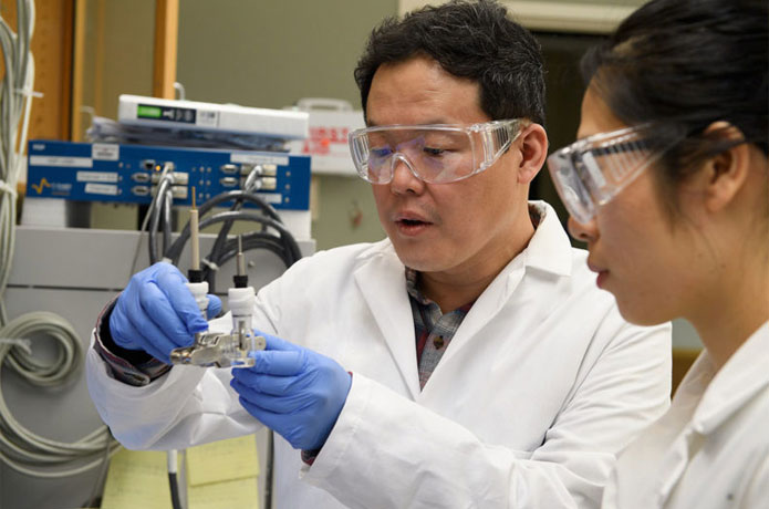 <p>Professor Min-Kyu Song and graduate student Panpan Dong test a prototype of a lithium metal battery.</p>