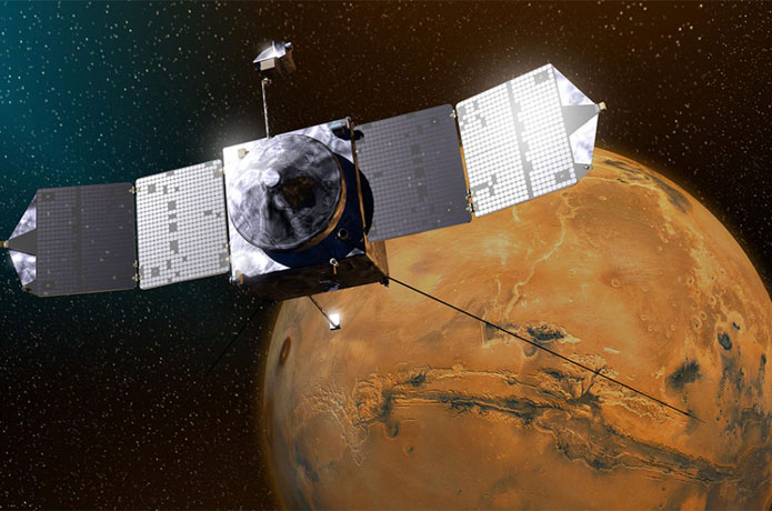 <p>Artist rendering of the MAVEN satellite. Credit: NASA</p>