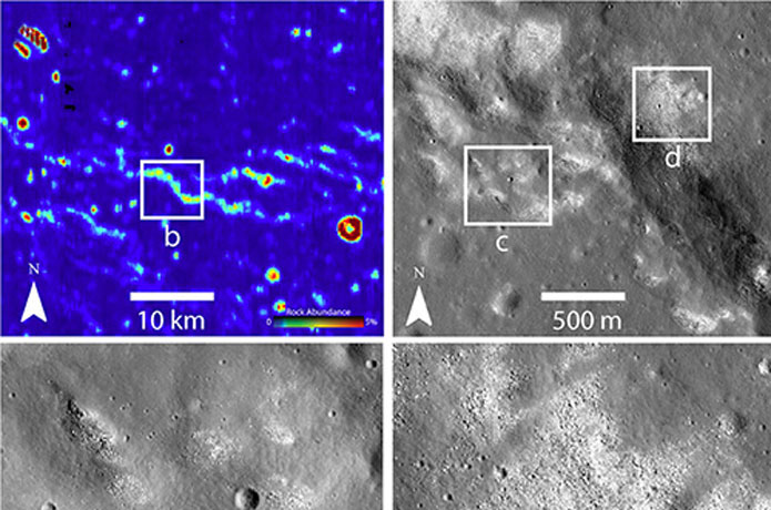 <p>Infrared (upper left) and other images from NASA's Lunar Reconnaissance Orbiter revealed strange bare spots where the Moon's ubiquitous dust is missing. The spots suggest an active tectonic process.</p>